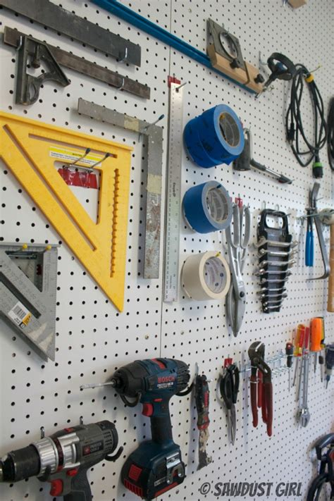 Garage Craft Room Ideas - how to create a pegboard organization wall sawdust 174