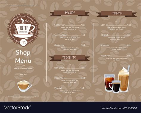horizontal menu templates free coffee shop horizontal menu template royalty free vector