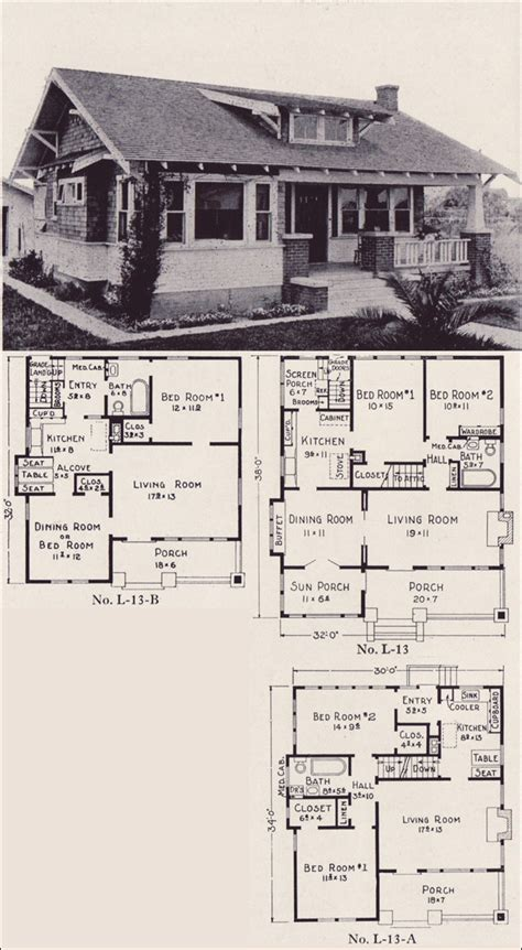 California Bungalow House Plans | 1922 classic california style bungalow house plans e w