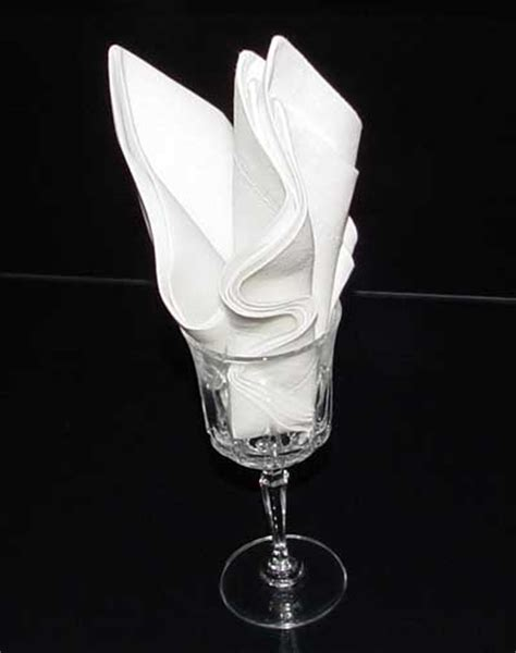 Folding Paper Napkins In Glasses - the goblet napkin fold