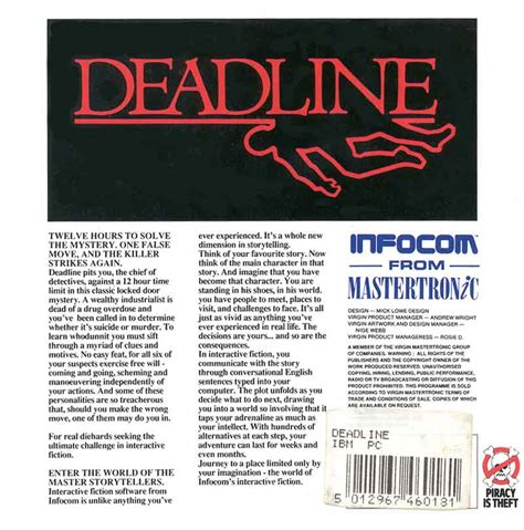 Fgcu Mba Deadline by The Infocom Gallery Deadline Mastertronic
