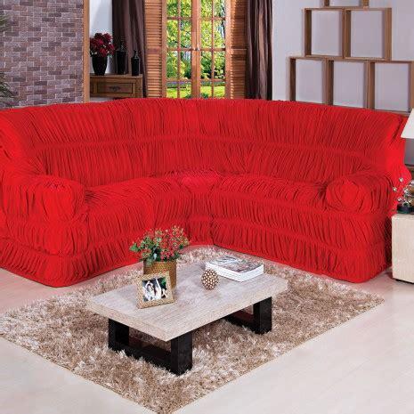 capa para sofás de canto capa de sof 225 de canto cor vermelho tecido malha gel 01