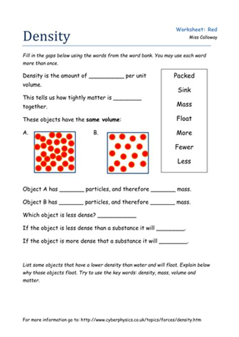 Density Worksheet an introduction to density by olivia calloway teaching
