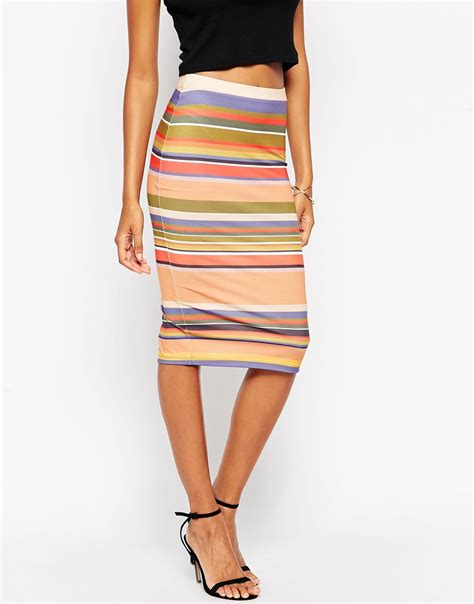 Multi Stripe Pencil Skirt lyst asos 70 s multi stripe pencil skirt in brown