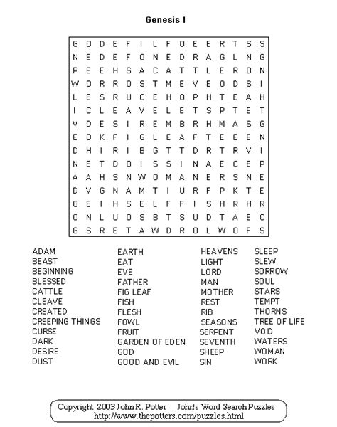 genesis word search results for puzzles printable