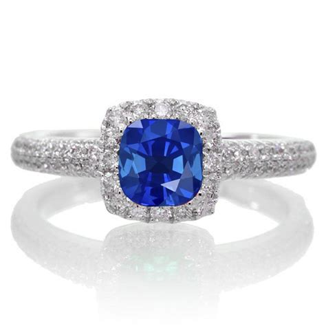 2 carat vintage halo sapphire and engagement ring