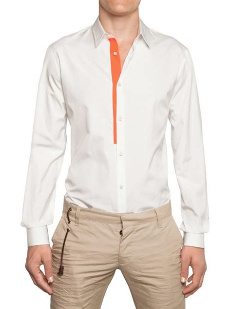 White Shirt With Orange by Dsquared 178 Neon Orange Trim Cotton Poplin Shirt In White For Lyst