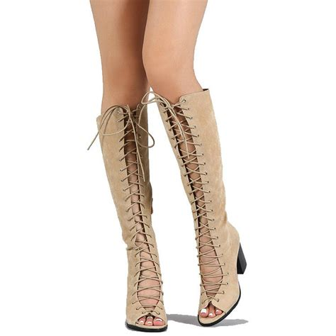 Chunky Heel Lace Up Boots peep toe lace up chunky heel knee high boots