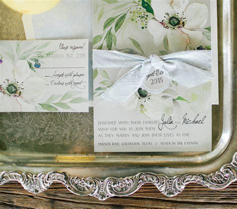 press white anemone hand painted wedding invitations