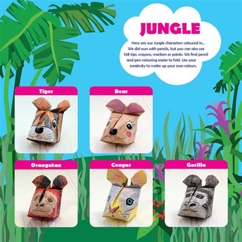 Origami Jungle Animals - jungle animals crafts