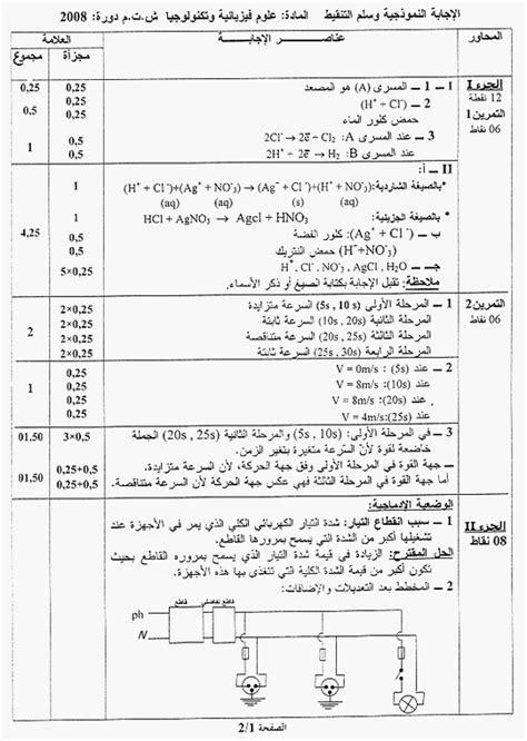 Corrigé sujet Physique – BEM 2008 · Mots de Tête d'Algérie