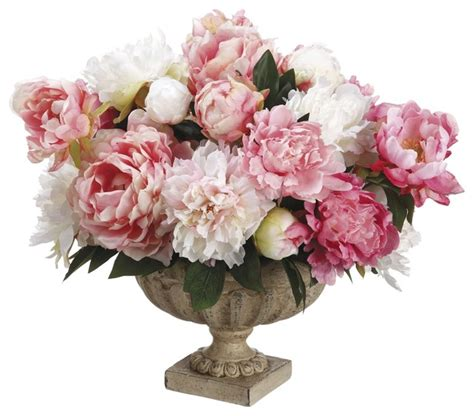 peony floral arrangement peonies silk floral arrangement in textured footed urn