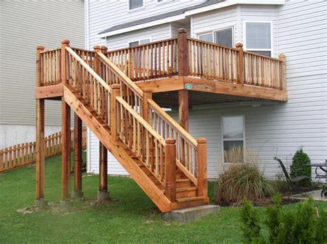 beautiful cedar deck stairs in mo