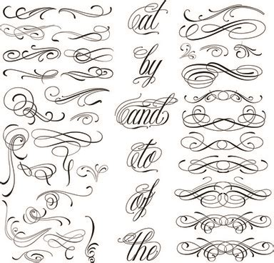 calligraphic text design elements vector calligraphic design elements and page decoration free