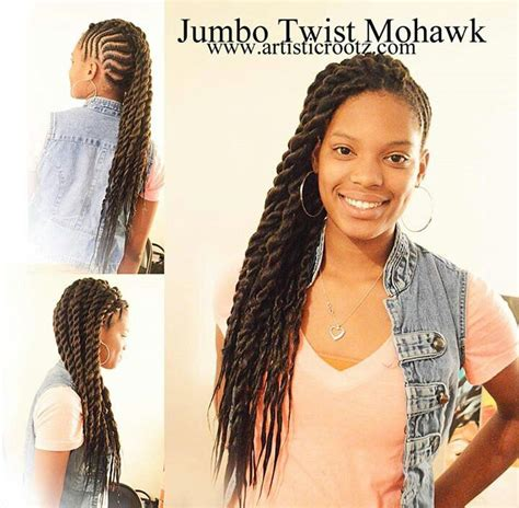 2 jumbo braids hairstyles cornrows to jumbo two stand twist mohawk flat twists