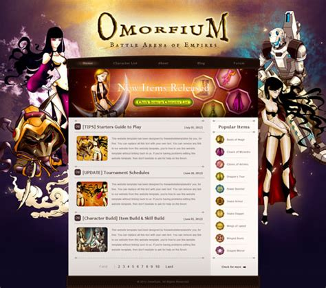 free templates for games website omorfium gaming mmorpg or mmo website with original