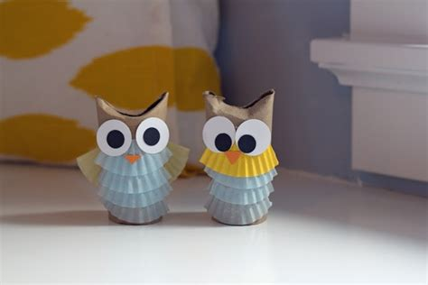Toilet Paper Owl Craft - easy craft toilet paper rolls and cupcake liners