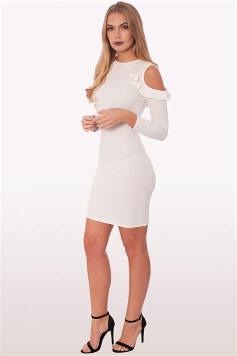 Dress Mini Kombi 3 raquel white ruffle bodycon mini dress dresses modamore