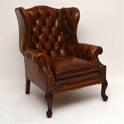 leather wing armchair large antique leather wing back armchair marylebone