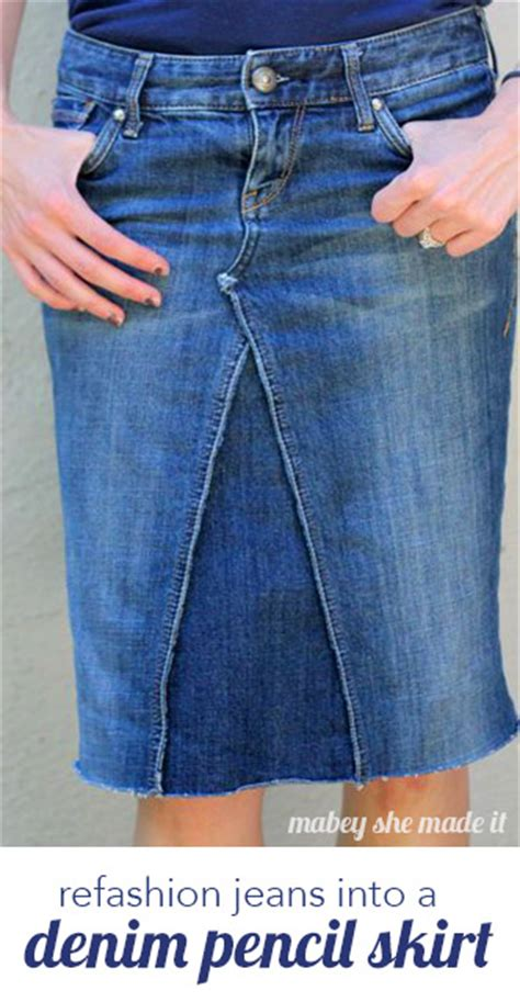 pattern for turning jeans into a skirt low rise pants to skirt refashion mabey she made it