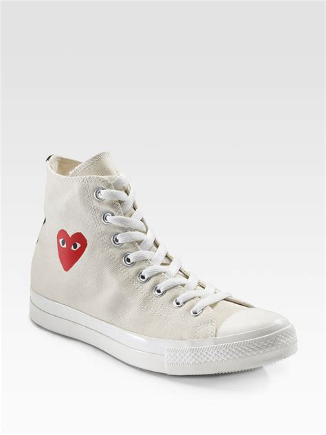 hi top canvas sneakers play comme des gar 231 ons high top canvas sneakers in white