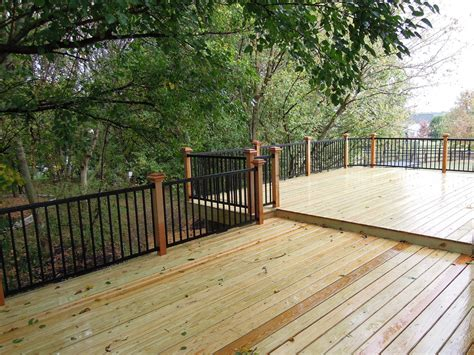 Aluminum Handrails For Decks custom wood deck w cedar aluminum railing west chester oh area