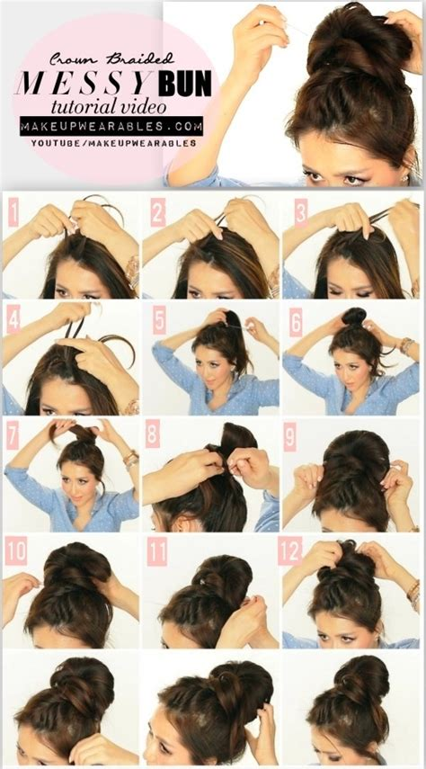 how to do five big braids styles 5 minute messy bun with crown braid tutorial video cute
