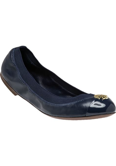 burch navy leather ballet flat in blue lyst