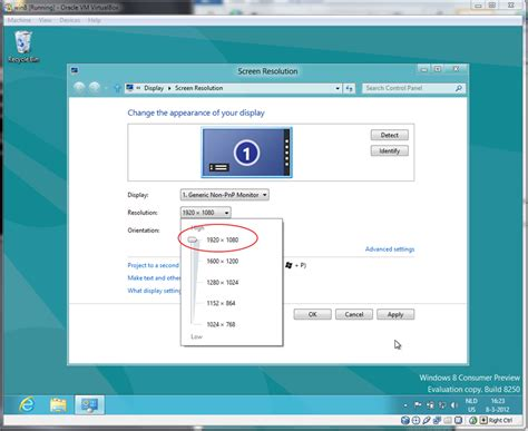 how to set windows 8 virtualbox full screen resolution