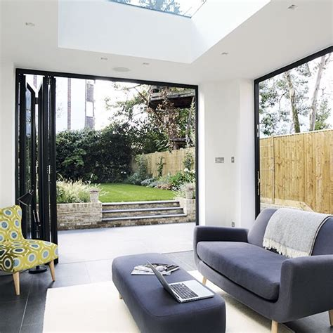 living room doors modern living room with bi fold doors decorating