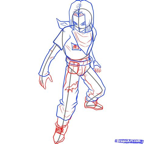 android draw how to draw android 17 step by step z characters anime draw japanese anime draw