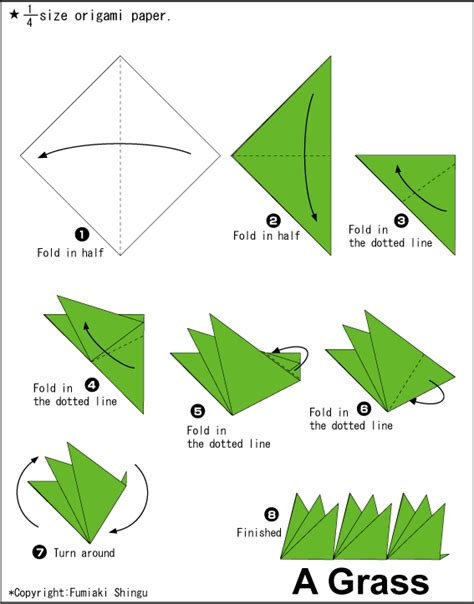 How To Make Paper Out Of Grass - grass easy origami for