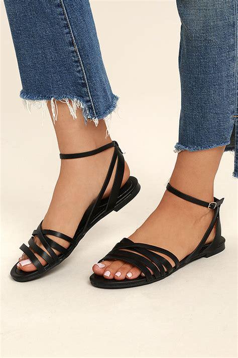 Sandal Santai Flat Wanita Berkualitas black ankle heels black flat sandals strappy black sandals 19 00