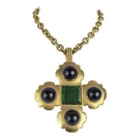 castella earring vintage chanel gripoix glass maltese cross pendant
