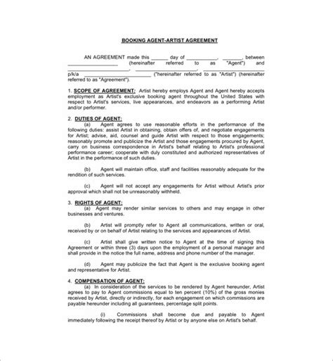Artist Booking Contract Template 11 Booking Agent Contract Templates Free Word Pdf Documents Download Free Premium Templates