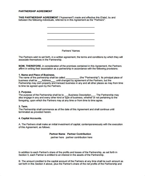 Sle Partnership Agreement Template Free 8 Partnership Dissolution Agreement Templates Sle Templates