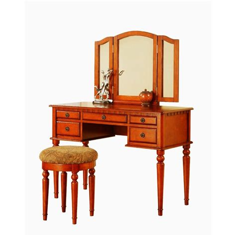 Vanity And Stool Sets by Poundex Bobkona St Croix Vanity Set With Stool In Walnut