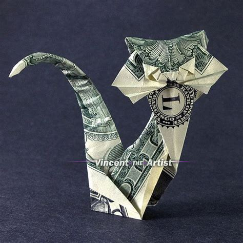 Origami Dollar Cat - dollar bill origami cat money dollar origami