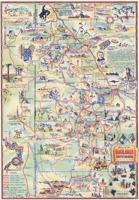 sturgis usa map 1940 map of the black of south dakota the