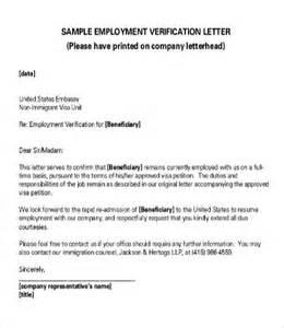 Business Letter Employment Verification Sle Verification Of Employment Letters 10 Free Word Pdf