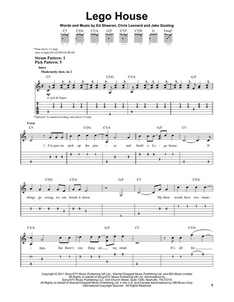 lego house tutorial guitar easy lego house sheet music by ed sheeran easy guitar tab