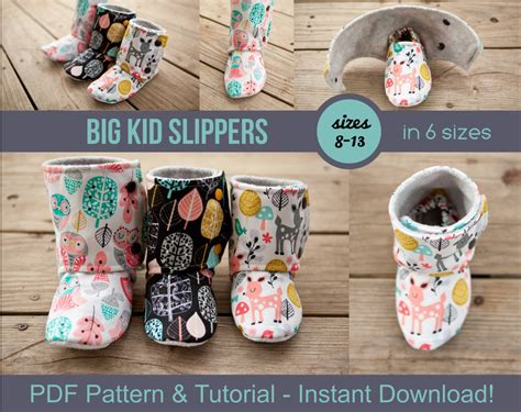 craft for pdf big kid slipper pattern pdf sewing pattern for big