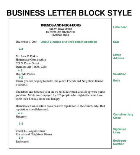 Block Style Business Letter With Subject Line Formal Business Letter Block Style
