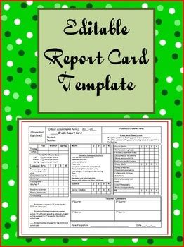 editable report card template  jan ayottes academic alley tpt