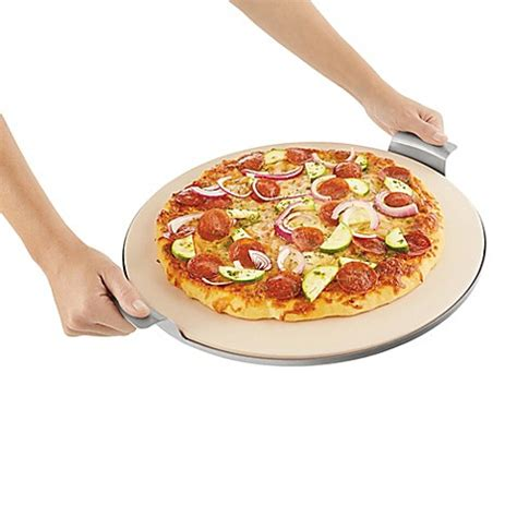 bed bath and beyond pizza stone pizzacraft 15 inch round pizza stone with solid stainless
