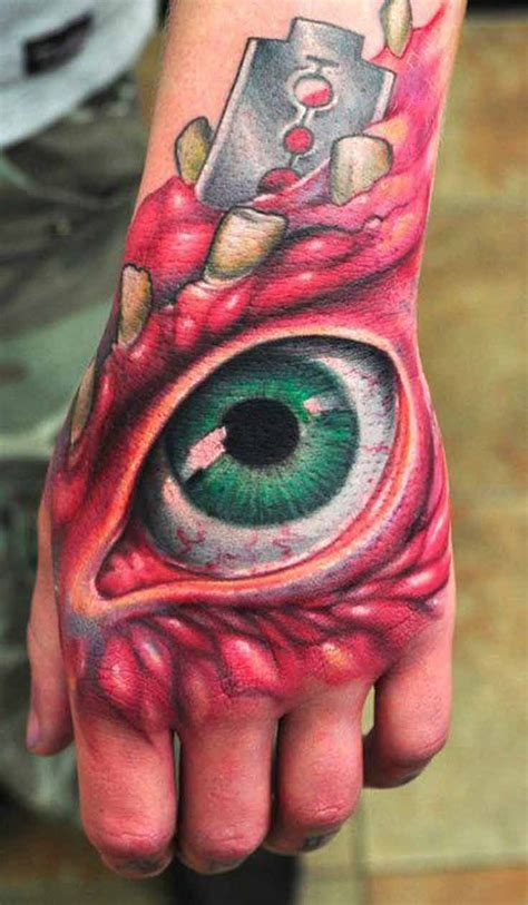 eye tattoo on hand 54 best horror tattoos images on