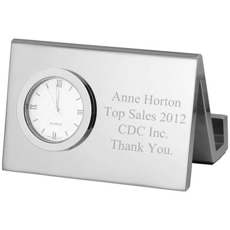 Personalized Silver Desk Clock with Business Card Holder