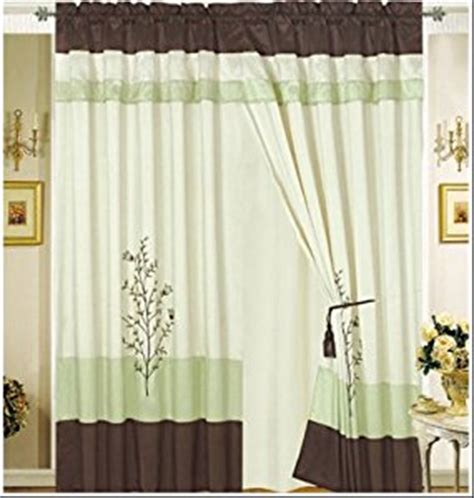 Green And Beige Curtains Octorose 174 Pair Of Green Brown Beige Embroidery Design Window Curtain