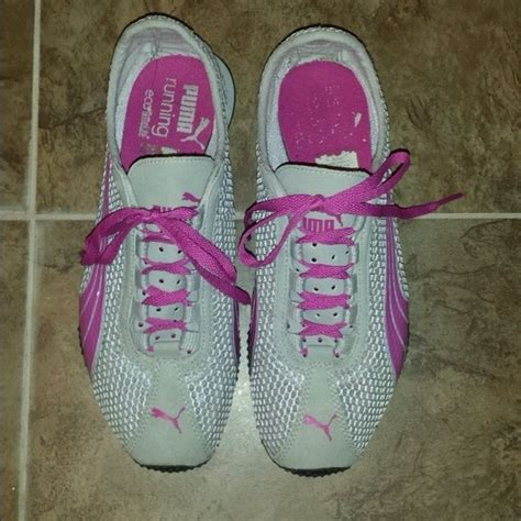 pink and white running shoes emrodshoes