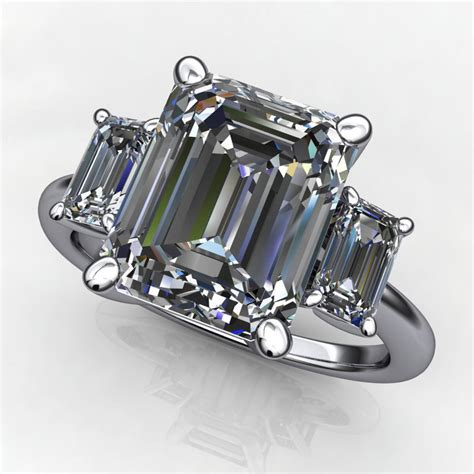 4 Engagement Ring by Kennedy Ring 4 Carat Supernova Moissanite Emerald Cut
